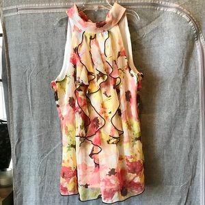 A. Byer yellow & pink ruffle sleeveless blouse M